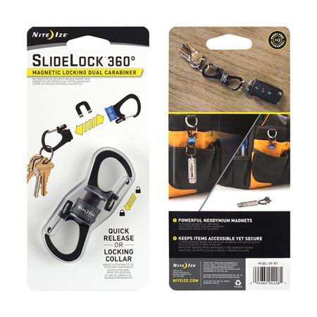 Nite Ize - SlideLock® 360° Magnetic Locking Dual Carabiner - Charcoal - MSBL-09-R7