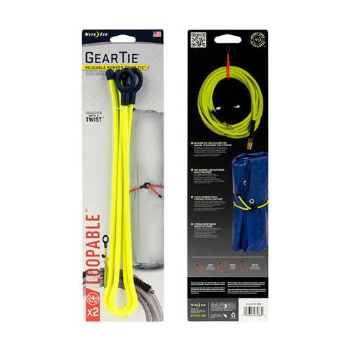 Nite Ize - Gear Tie Loopable 24   - Neon Yellow - 2Pack - GLL24-33-2R6